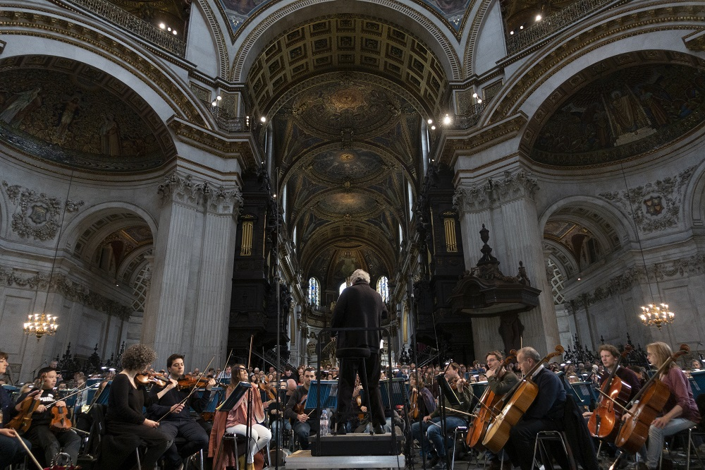 Rehearsal for the Berlioz Requiem in St Paul's Cathedral