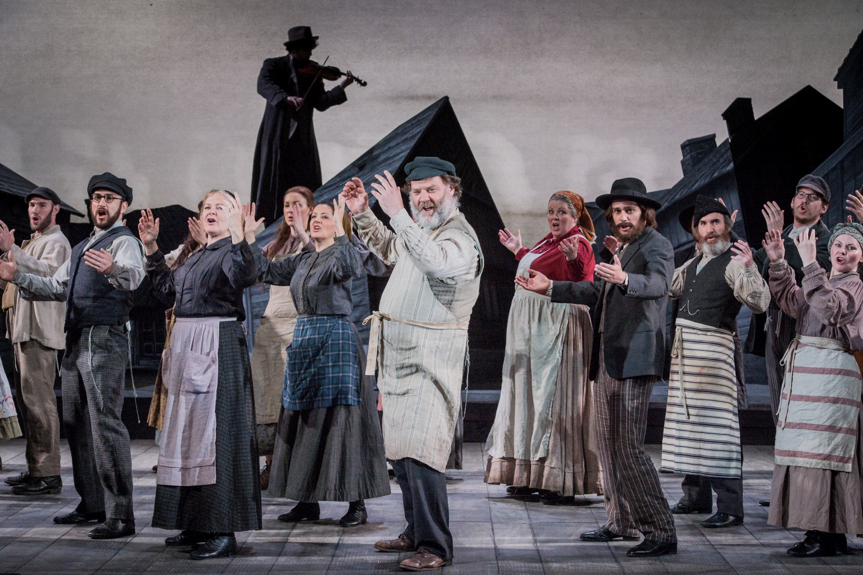 Bryn Terfel and company in Grange Park's Fiddler on the Roof. Photo: Robert Workman