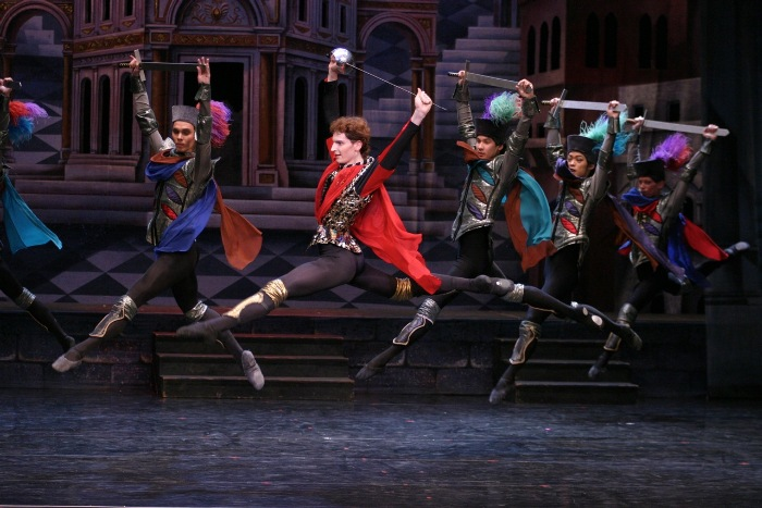 Tybalet and Capulet soldiers in Moscow City Ballet's Romeo and Juliet