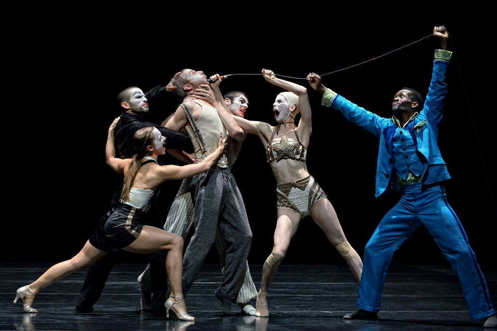 Jonathon Young and the dancers of Kidd Pivott in 'Betroffenheit' by Young and Crystal Pite. Photo by Michael Slobodian.