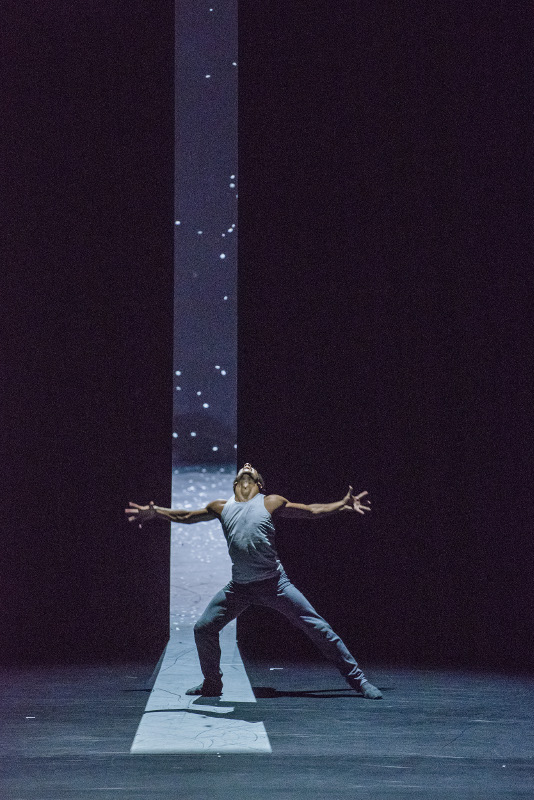 Marcelino Sambé in Crystal Pite's Flight Pattern at the Royal Ballet. Photo by Tristram Kenton.