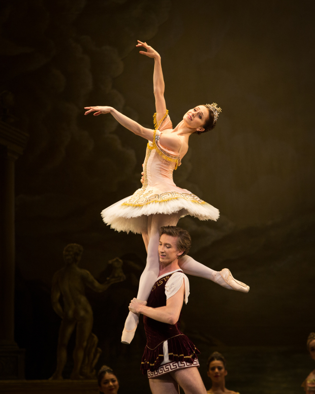 Vadim Muntagirov and Marianela Nuñez in Frederick Ashton's Sylvia. Photo by Alice Pennefather.
