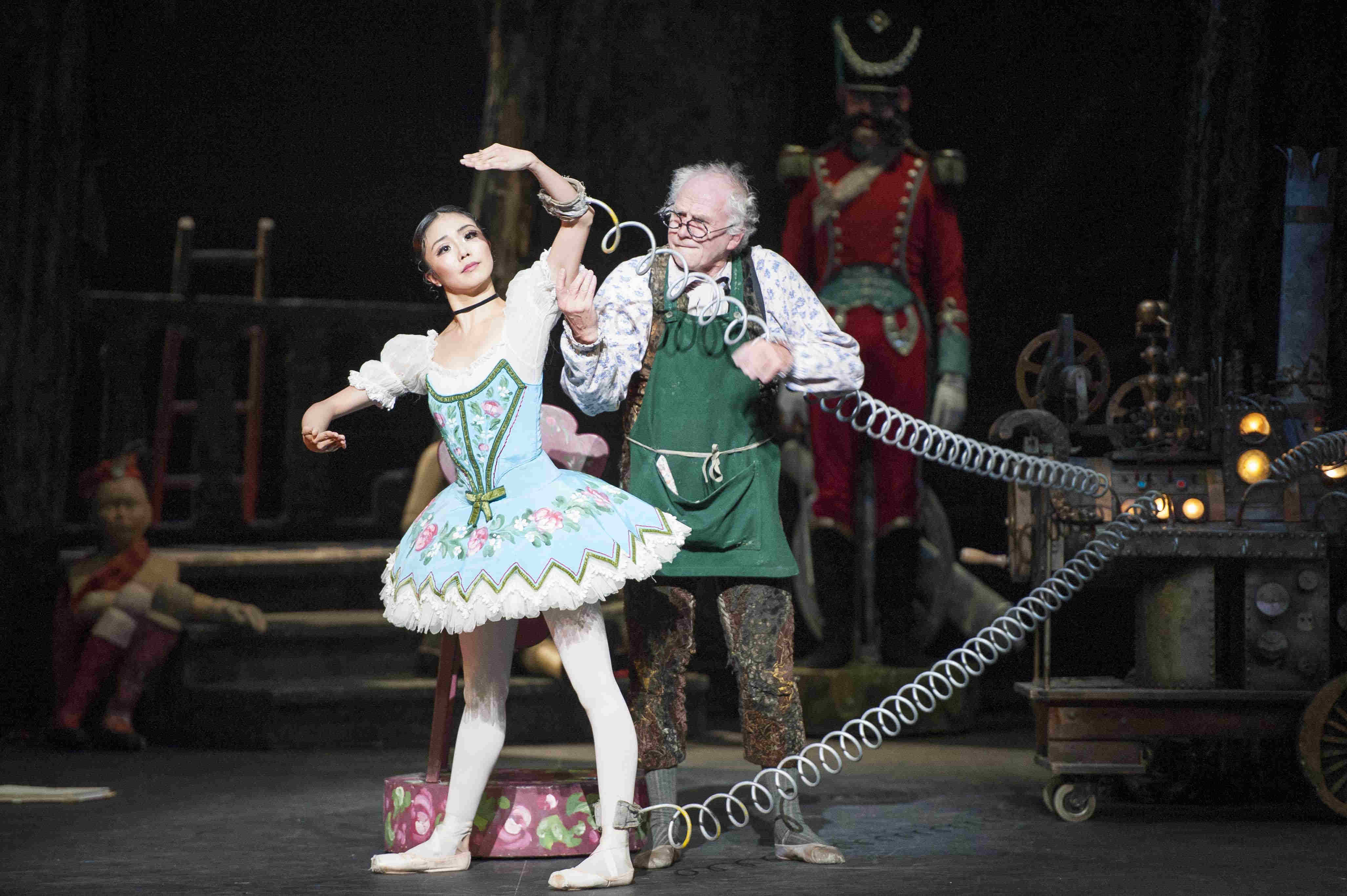Shiori Kase as Swanilda and Michael Coleman as Dr Coppélius in ENB's Coppélia