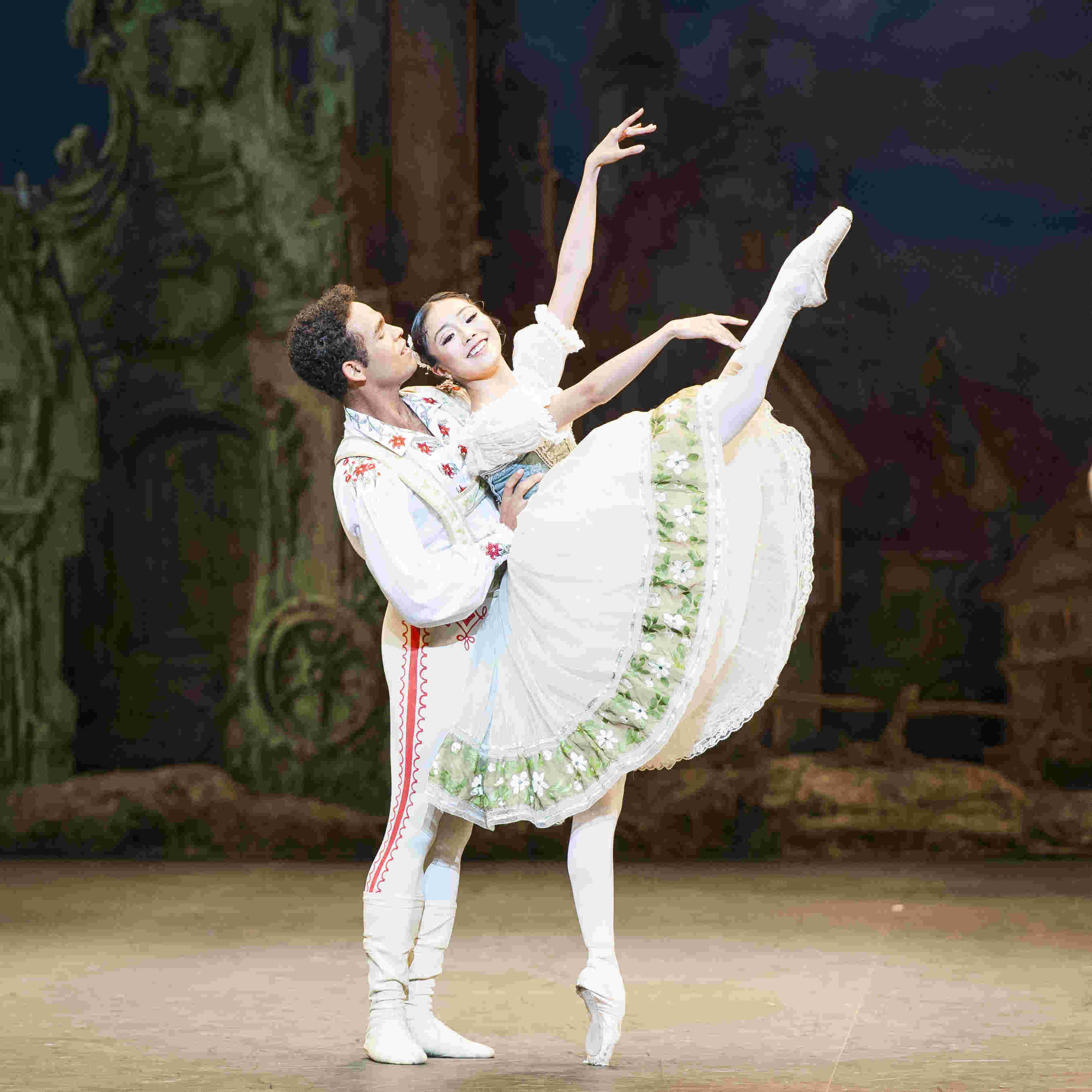 Yonah Acosta and Shiori Kase as Franz and Swanilda in ENB's Coppélia