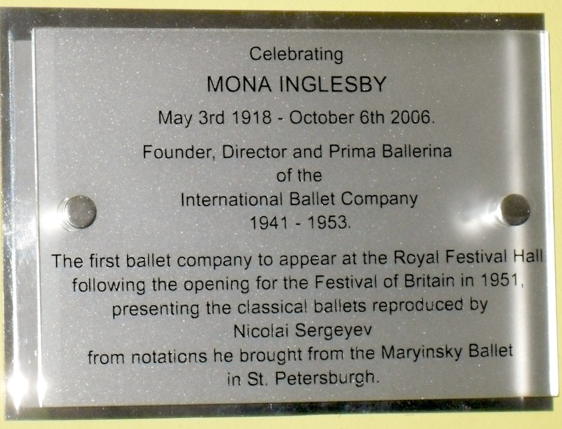 plaque at Royal Festival Hall