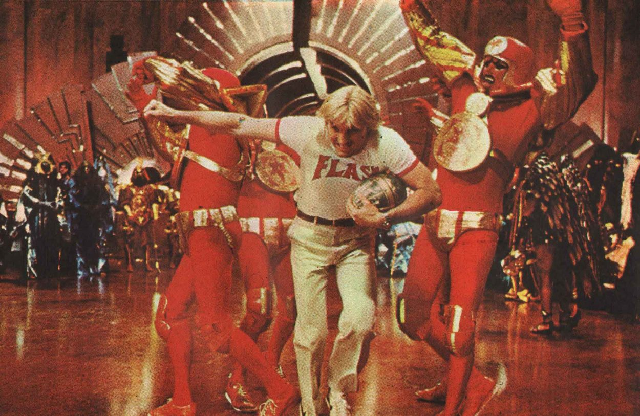 Flash (Sam J. Jones) touches down in Flash Gordon