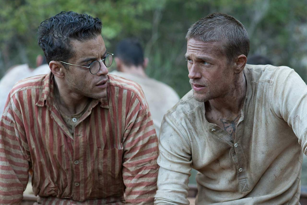 Remi Malek and Charlie Hunnam in Papillon