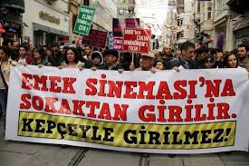 Demonstration against the demolition of the Emek cinema, Istanbul