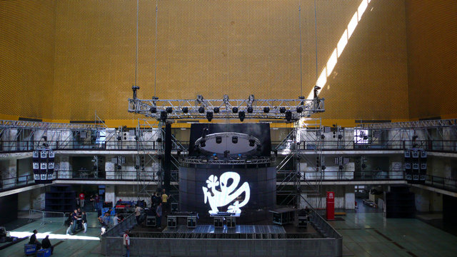 The Plastikman stage being set up