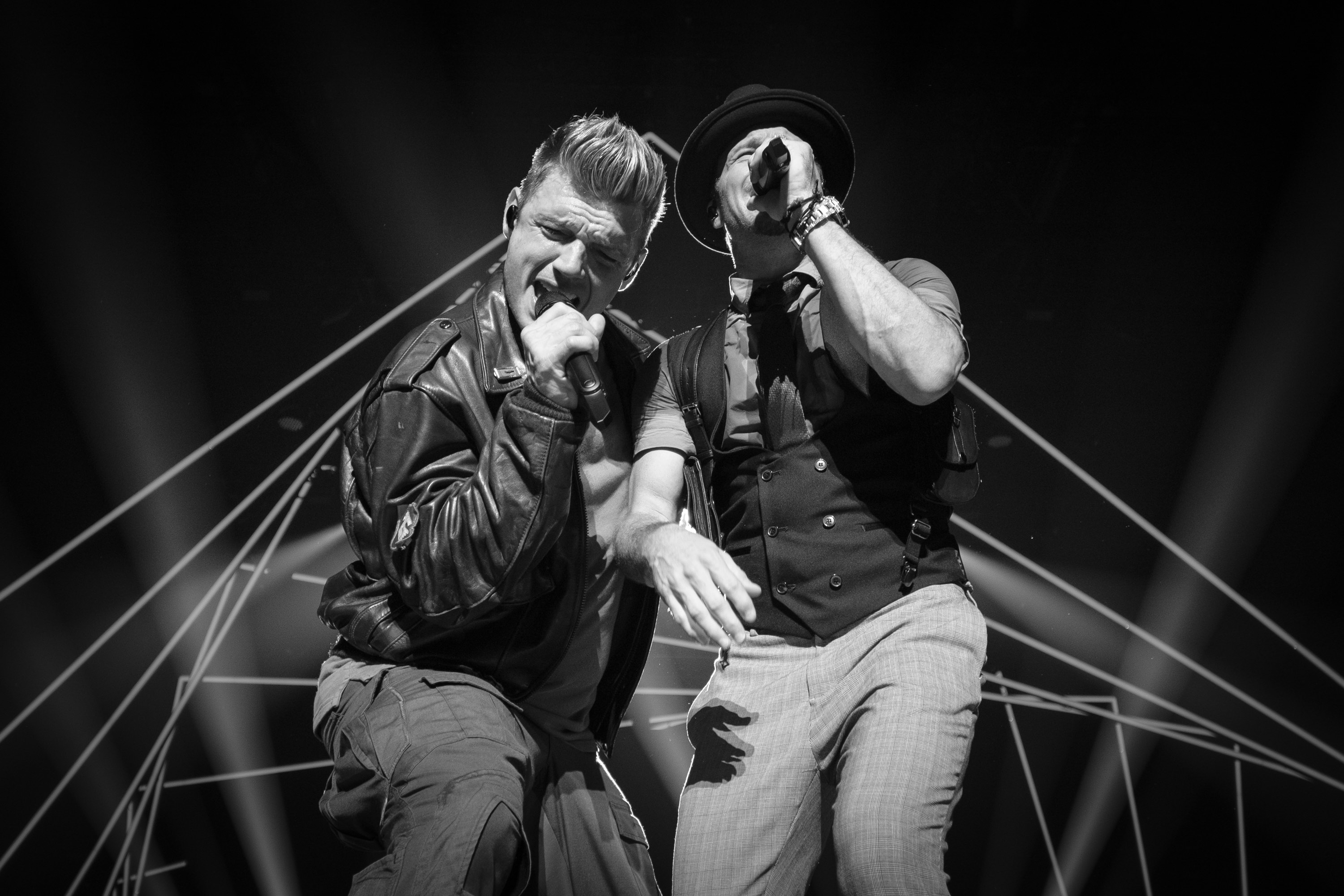 Nick Carter and Brian Littrell of the Backstreet Boys