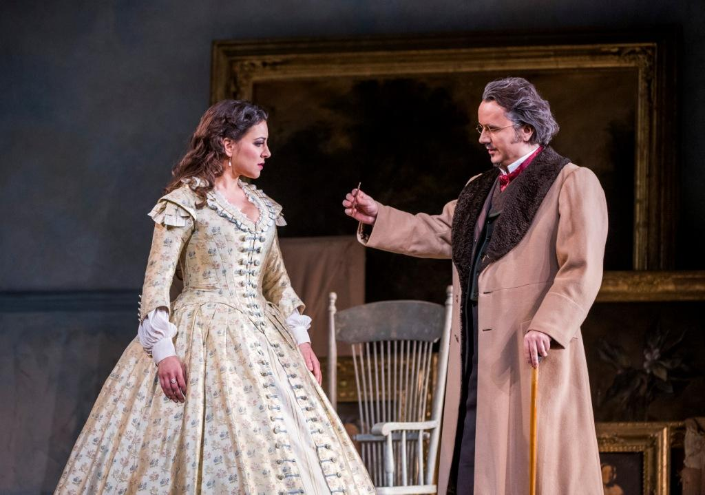 Joyce El-Khoury and Artur Rucinski in La Traviata at the Royal Opera House