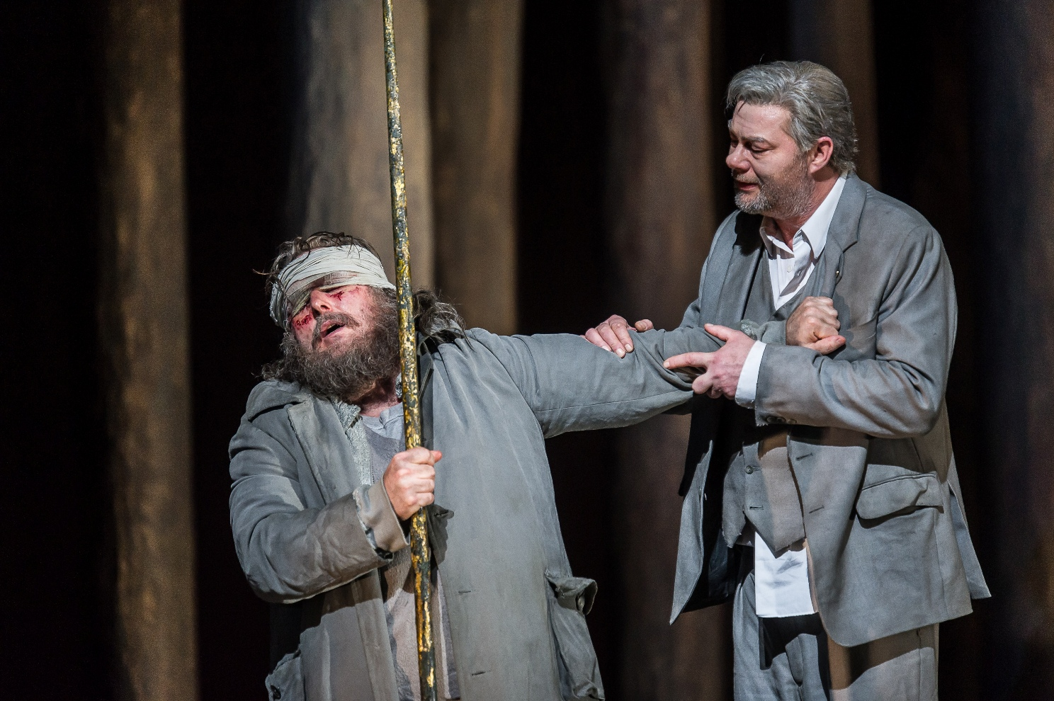 Simon O'Neill and Rene Pape in the Royal Opera Parsifal by Clive Barda