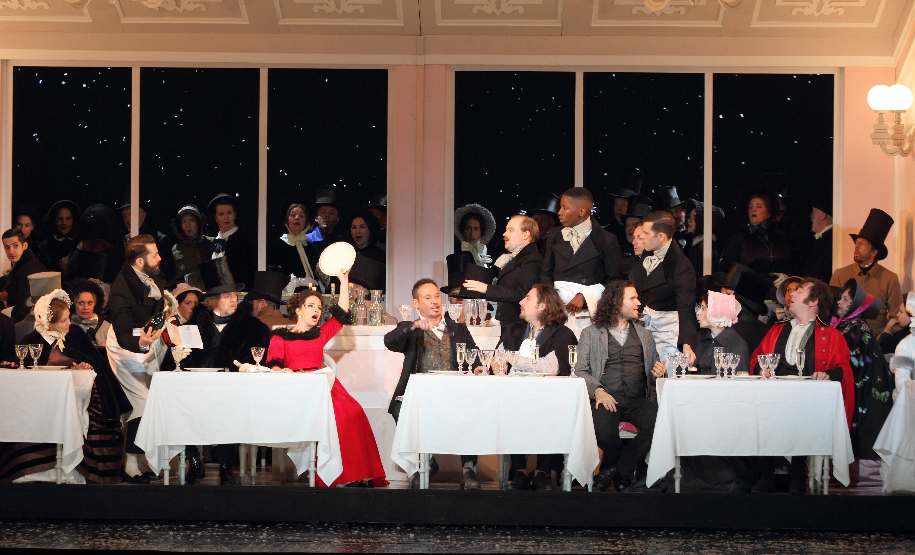Cafe Momus scene in Royal Opera Boheme