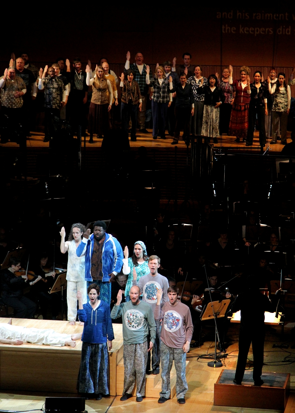 Chorus, orchestra and soloists in Peter Sellars's production of Adams's The Gospel According to the Other Mary
