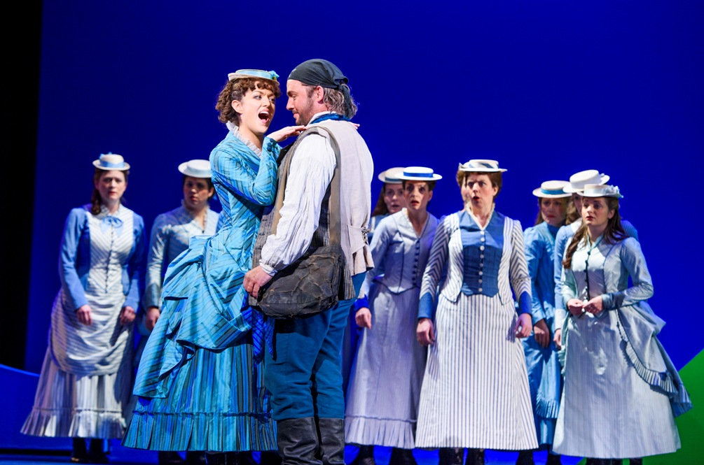 Claudia Boyle (Mabel) and Frederic (Robert Murray) declare their love before her sisters in ENO Pirates of Penzance