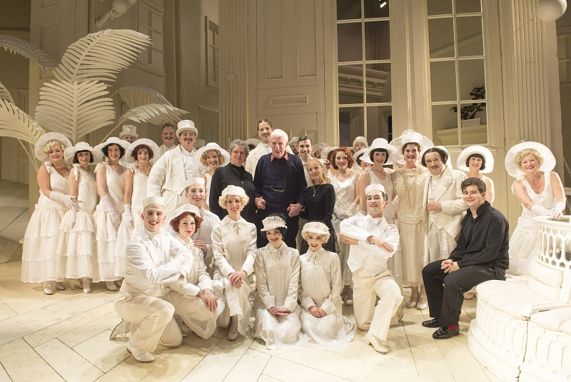 Jonathan Miller with cast of ENO Mikado