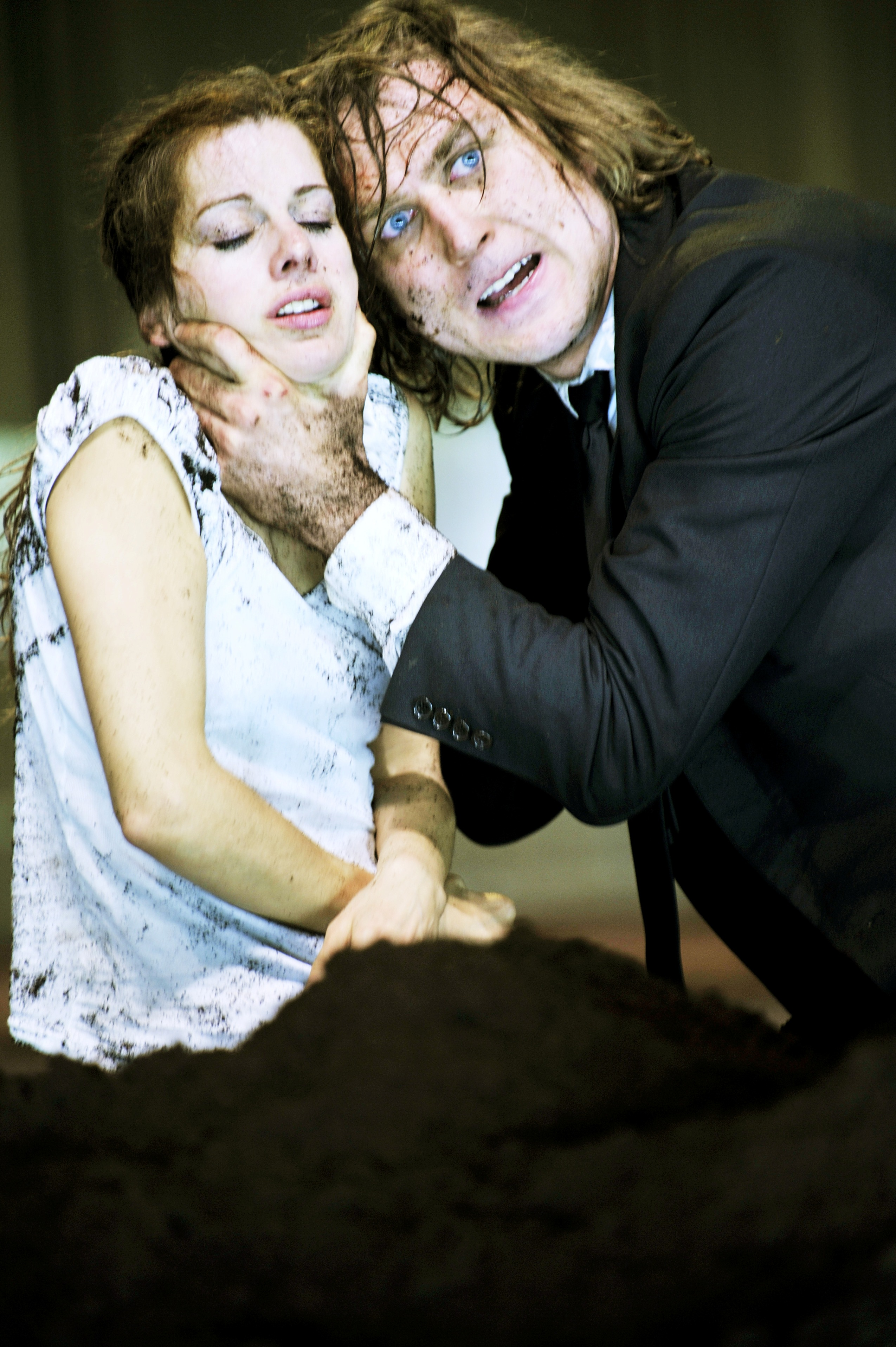 Judith Rosmair as Ophelia and Lars Eidinger as Hamlet in the Schaubuhne's Shakespeare