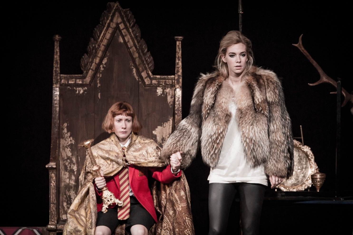 Bettrys Jones as Edward III and Vanessa Kirby as his mother Isabella in the NT Edward II