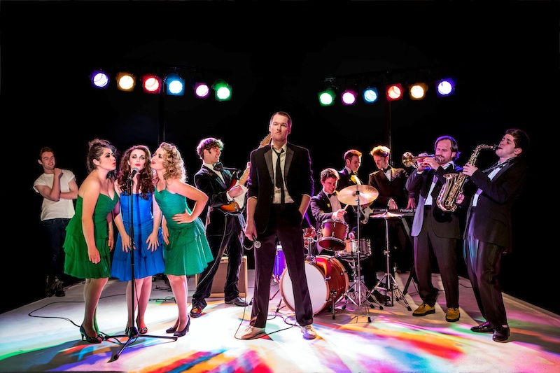 The Commitments Band: Denis Grindel (far left), with Jessica Cervi, Sarah O'Connor and Steph McKeon as the backing vocalists, and Killian Donnelly (centre)