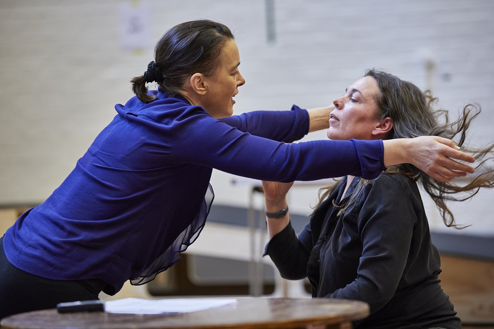 Olivia Williams and Olivia Colman rehearsing Mosquitoes at the National Theatre