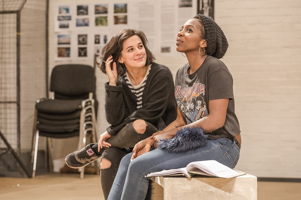 Phoebe Fox and Tamara Lawrance in rehearsals for Twelfth Night.  Image by Marc Brenner