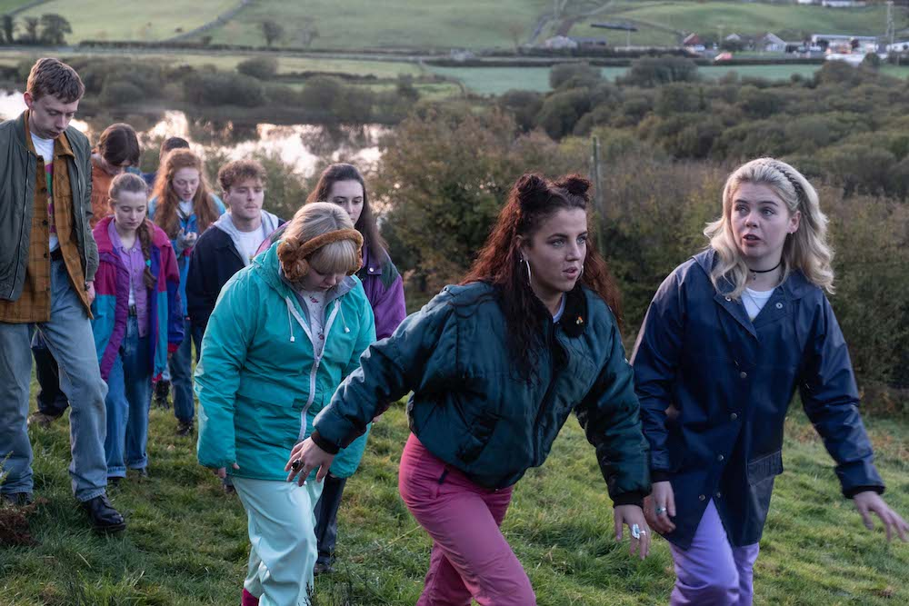 Nicola Coughlan, Jamie-Lee O'Donnell, and Saoirse-Monica Jackson in Derry Girls