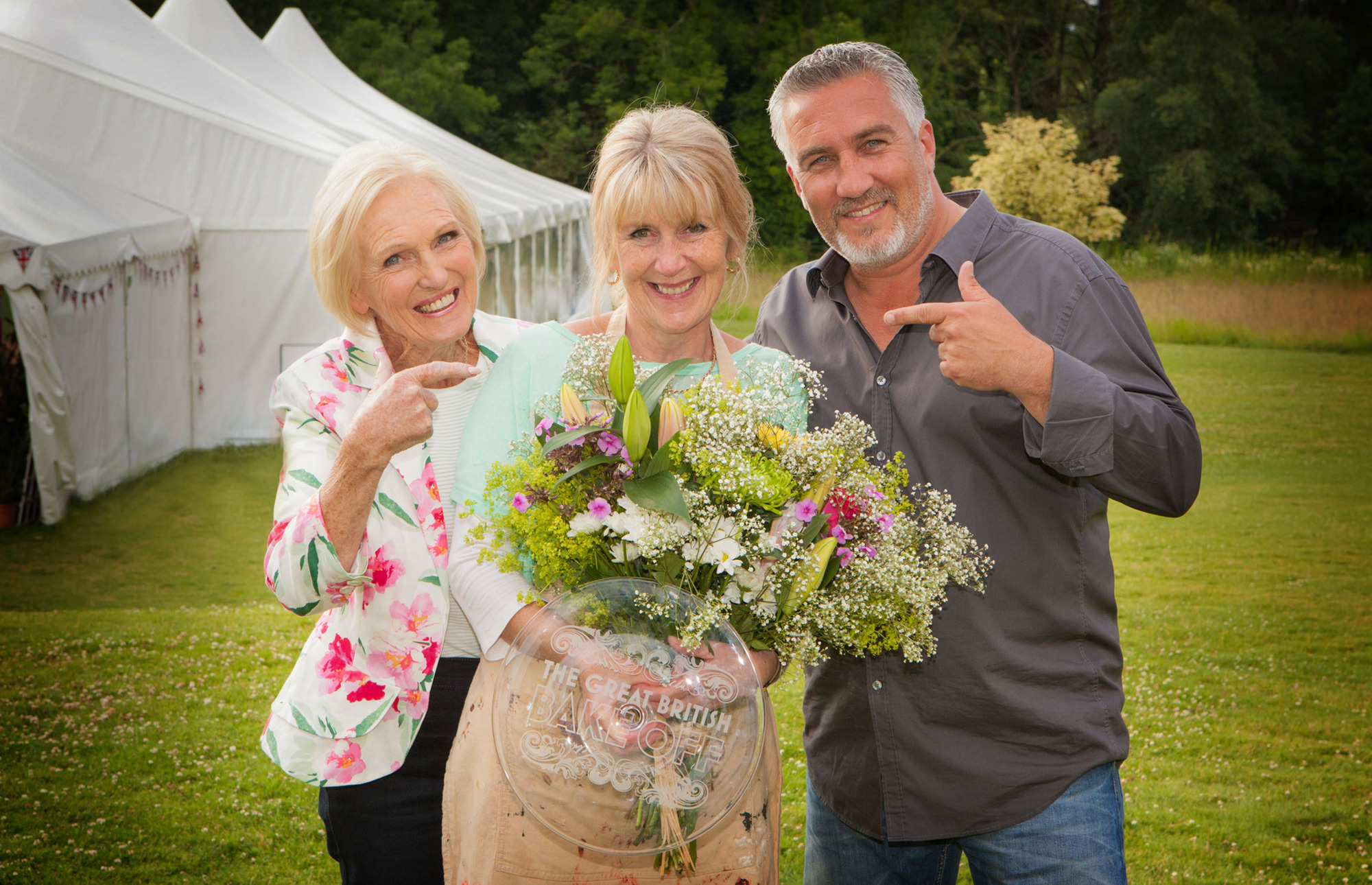 Mary Berry, Nancy Birtwhistle and Paul Hollywood in The Great British Bake Off