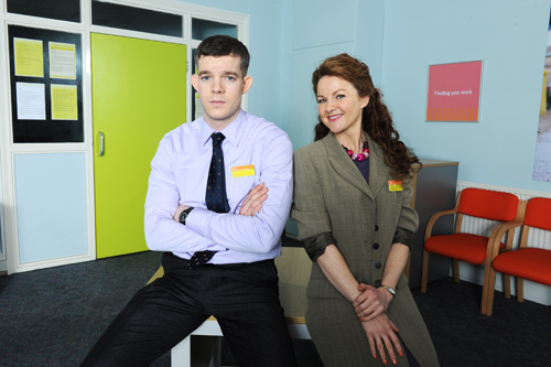 Russell Tovey and Sarah Hadland in The Job Lot