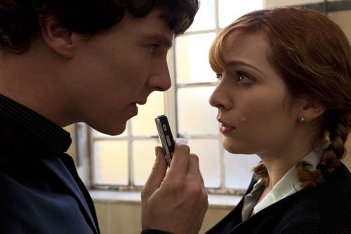 Benedict Cumberbatch and Katherine Parkinson in Sherlock